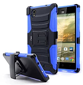 ZTE Warp Elite Case, Nagebee - High Impact Resistant Black Dual Layer Armor Holster With Locking Belt Clip Defender Full Body Protective Hybrid Armor Case Cover (Holster Combo Blue)