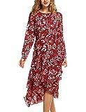 Beyove Damen V Ausschnitt Chiffonkleid Langarm Printkleid Blumenkleid Abendkleid Rockabilly A Linie Freizeitkleid Strandkleid Cocktailkleid Sommerkleid (L, Rot 1)