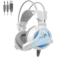 Xiberia X5 Headphones with Mic for PC, PS4, Xbox One, Laptop, PC, iPhone and Android Phones (White)