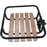 Porte-bagages avant de vélo hollandais noir avec bretelles vR omafiets montage sur cadre bois