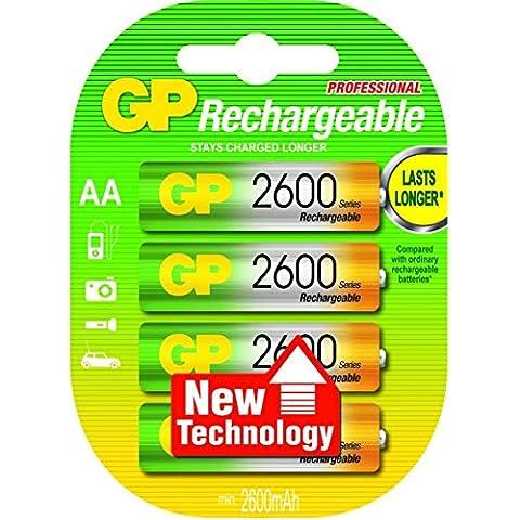 GP Blister de 4 piles rechargeables AA 2550 mAh NiMH