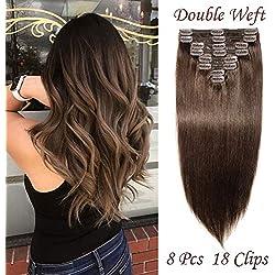 Silk-co Extension de Cheveux A Clip Double Weft 8 Mèches Rajout Cheveux Lisse 100% Clip In Hair Extension Human Hair(22 Pouces,#2 Brun Foncé)