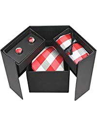 Bradford Red Stripes Mens Necktie Gift Set With Cufflinks And Hanky Pocket Square (Red Sriped)