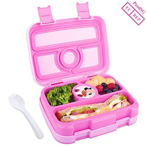 WayEee Lunchbox für Kinder Bento-Box mit 4 Fächern BPA-freier Essen Container mit Löffel Ideal für Schule, Picknicks, Reisen (Rosa) Bento Essen
