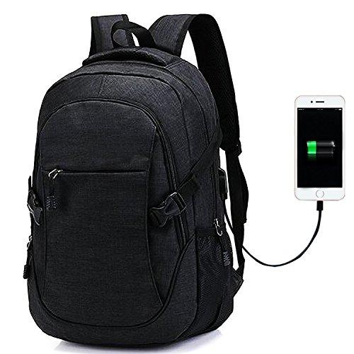 Laptop Rucksack - Notebook Rucksack Business Tasche mit USB Kabel und Anschluss Geeignet Schwarz Nylon Rucksack Damen Herren Computer Rucksäcke für Arbeit Schul Outdoor Reise (Tasche Nylon Kurze)