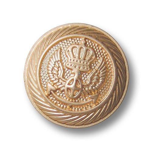 Knopfparadies - 5er Set prunkvolle matt goldfarbene Metall Ösen Knöpfe mit Wappen Motiv mit Krone, Kreuz, Flügeln und Anker / matt gold / Metallknöpfe / Ø ca. 25mm - Wappen-knöpfe