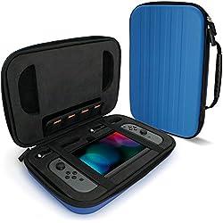 igadgitz Blu EVA Borsa Custodia Rigida da Viaggio per Nintendo Switch Case Cover con Interno Antiurto & Maniglia