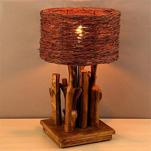 LIANBIAN Tischleuchte Retro Nostalgie Rattan Echtholz Koralle kontrahierten Wohnzimmer Schlafzimmer Nachttischlampe Nachttischlampen