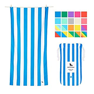 Dock & Bay Microfibre Sand Free Beach Towels - for Swim & Travel Towel - Bondi Blue, Extra Large (200x90cm, 78x35) - quick dry camping towel, beach mat
