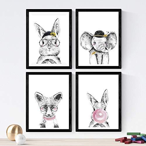 Nacnic Set de 4 láminas de Animales Infantiles Dulces,en tamaño A4, Poster...