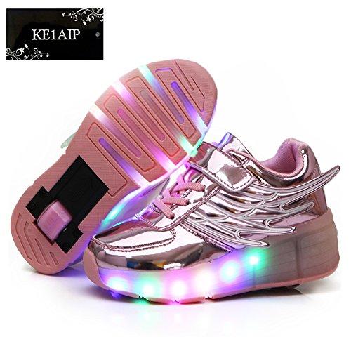 KE-Nios-Ala-Rodillo-LED-de-luz-sola-ronda-Espejo-ultraligero-Patines-zapatos-de-entrenamiento-Noche-deporte