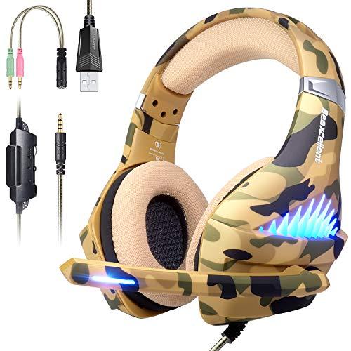 Gaming Headset für PS4, Xbox One, PC, Nintendo Switch, Laptop Handy Stereo Surround Gaming Kopfhörer mit Mikrofon, Geräuschunterdrückung, LED Lichter, Lautstärkeregler 3,5 mm Klinkenstecker, Camo Handy Messing
