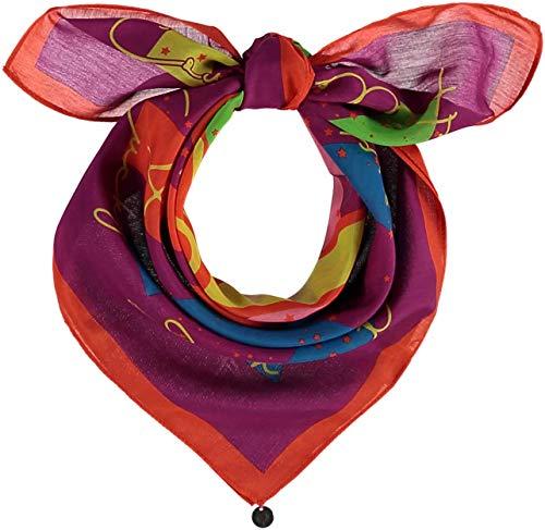 FRAAS Horoskop Zodiac Halstuch für Damen & Herren - Bandana Tuch mit Sternzeichen Design - Nickituch aus 75% Wolle & 25% Seide - 65 x 65 cm, Widder Fuchsia
