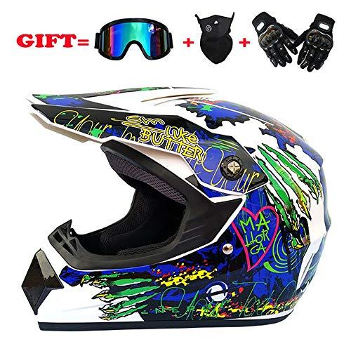 Exklusive Anpassung Motorradhelm Full Cover Four Seasons Motocross Integralhelm Helm Off-Road-Helm Brille Maske Handschuhe Atmungsaktiv Sicheres Fahren (Size : XL)