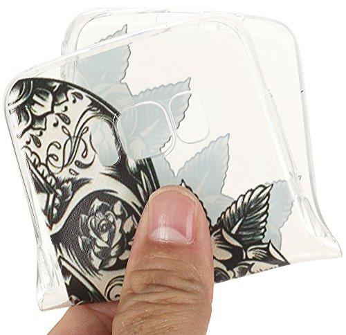Nnopbeclik Silikon Transparent Hülle Für Samsung Galaxy S8, Ultra Slim Weich TPU Cover Case [Einfaches Design] Durchsichtig Blume Case Etui, Druck Multi Muster [Schmetterling] Niedlich Schutzhülle Glä Skelett