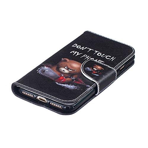 EUWLY Case Cover per iPhone 7/iPhone 8 (4.7) Custodia Portafoglio in PU Pelle Cover Ultra Slim Sottile Flip PU Leather Wallet Case Portafoglio Cover con Porta Carte, Supporto Stand Funzione, Magnetic Orso Chainsaw