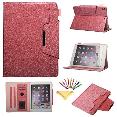 017 (iPad 6th/5th Gen)/iPad Air 2/iPad Air Hülle, Uliking Vintage Smart Folio Stand PU Leder TPU Wallet Cover mit Kartenfach Stifthalter [Auto Sleep/Wake] rosa 01 Pink ()