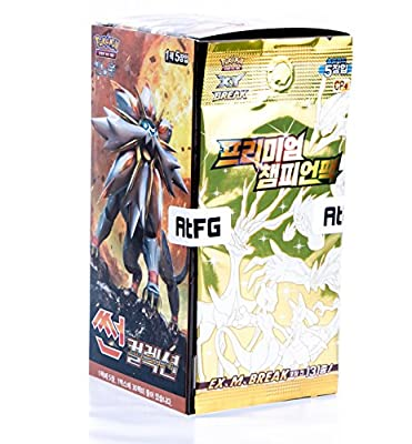 Pokémon Cartes Sun & Moon Booster Pack Boîte 30 Packs en 1 boîte Offensive Vapeur Soleil et Lune(Sun Collection) + 5pcs Premium Card Corée TCG