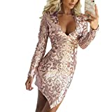 SODIAL Vestito con paillettes Ladies Night Club Sexy passionale aderente a  maniche lunghe a vita alta 929fbba989f