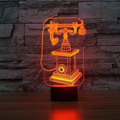 Optische Täuschung 3D Telefon Nacht Licht 7 Farben Andern Sich USB Adapter Touch Schalter Dekor Lampe LED Lampe Tisch Kinder Brithday weihnachten Geschenk -