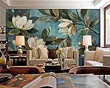 Grand papier peint 3D - Motif floral bleu gardénia 200cmX140cm