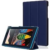 Para lenovo Tab 3 7 Essential, cuero sintético funda para lenovo Tab 3 7 Essential Tab 3-710F 7 pulgadas (17,78 cm) protectora Cover Tablet piel Case con funcion de soporte con el azul oscuro