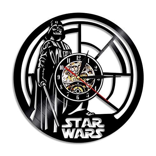 mebeaty Vinyl-Schallplatte Wanduhr Star Wars Black Warrior Runde hohlen Vinyl-Material Dekoration Uhr für Kinder Schlafzimmer, Wohnzimmer, Küche, Bad, 12 '', 0270