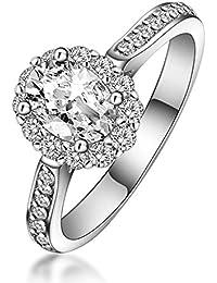 Aooaz Gioielli anello fascia anello fidanzamento anello argento sterling Ovale Argento anelli donna anello zirconi
