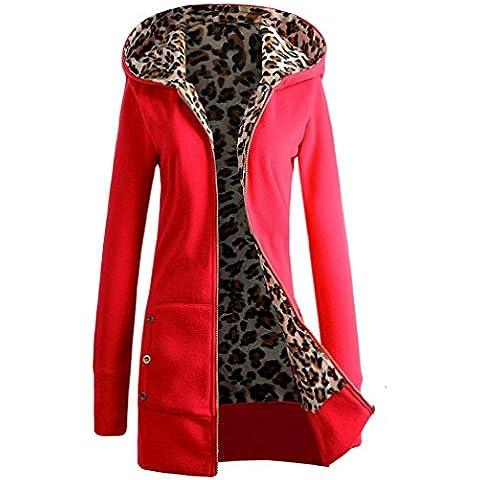 Baonoop_1PC mujeres más el terciopelo espesó la capa con capucha de la cremallera del leopardo del