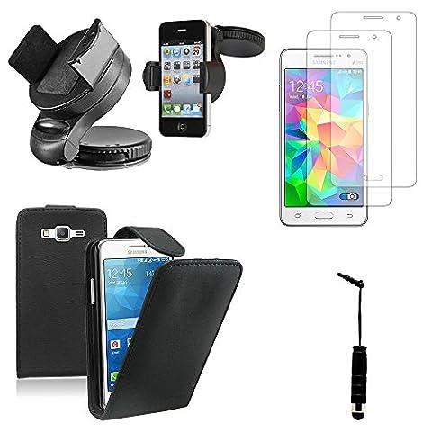 VCOMP® Samsung Galaxy Grand Prime SM-G530F/ (4G) SM-G531F: Etui rabattable en simili cuir Couleur: NOIR + 2 films d'écran + 1 mini stylet + 1 support voiture auto GPS