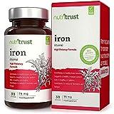 Comprimés de fer efficaces par Nutritrust® - Contribue à la réduction de la fatigue & favorise la circulation sanguine – Compléments végans à base de fer pour entretenir le système immunitaire...