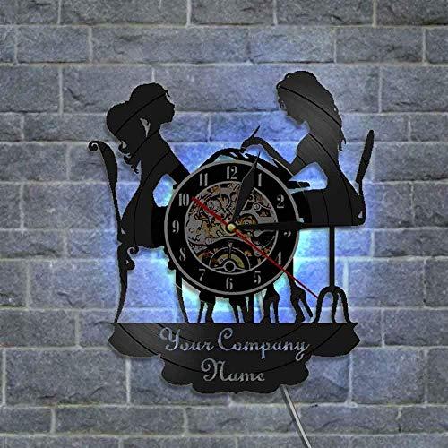 (GuoEY 1 Stück Custom Ihre Firma Name Uhr Nagel Salon Dekoration Wanduhr mit Farbwechsel LED Hintergrundbeleuchtung Moderne Vinyl Uhren)