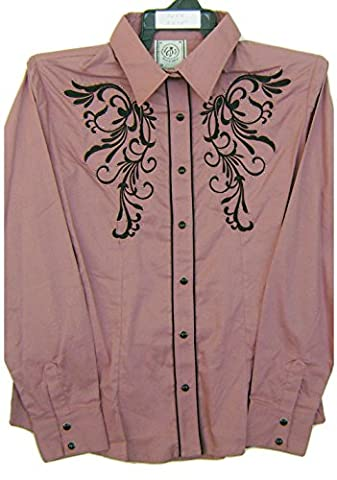 Modestone Women's Embroidered Long Sleeve Western Chemise Floral Rhinestones Purple S
