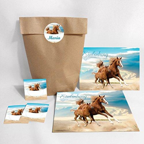 8-er Set Einladungskarten, Umschläge, Tüten, Aufkleber zum Kindergeburtstag für Mädchen Pferd / Fohlen / zwei Pferde (8 Karten + 8 Umschläge + 8 Party-Tüten (Kreuzbodenbeutel) + 8 Aufkleber)