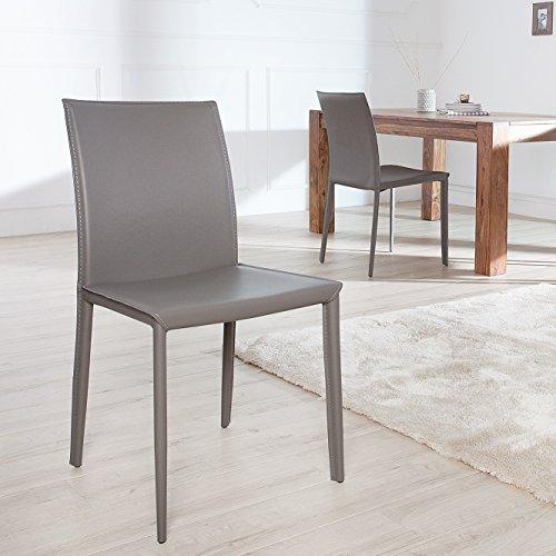 cagü - EXKLUSIVER DESIGN STUHL [BOSTON] Grau aus ECHT LEDER mit ZIERNAHT - KOMPLETT MONTIERT! NEU!
