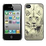 Tasche Schutzhülle Case schützend Hülle Für Apple Iphone 4 / 4S / Business Style Fierce Lion Big Cat Tiger