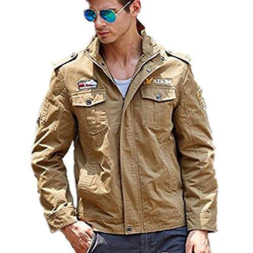 Newbestyle Homme Printemps Automne Veste Militaire Blousons à col Slim Coton Veste D'outillage Mince Zip Collier Manteau Veste Kaki