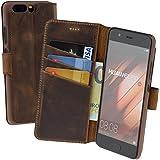 Huawei P10 | Suncase Book-Style (Slim-Fit) Ledertasche Leder Tasche Handytasche Schutzhülle Case Hülle (mit Standfunktion und Kartenfach) antik coffee