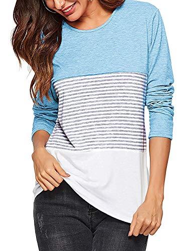 AMORETU Tops de Rayas de Cuello Redondo de Manga Larga para Mujeres Camisetas de Blusas Casuales Azul Claro L