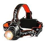 Linterna Frontal LED, Techole Linterna LED Recargable con CREE XM-L T6 LED, 2000 Lúmenes con 3 Modos, Zoomable y Ajustable Linterna Cabeza para Excursión, Pesca, Ciclismo, Carrera, Caza etc. (Naranja)