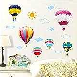 XPY-wall sticker Wandtattoos wandaufkleber Wandbilder Tapeten Wandsticker-Abnehmbarer Hintergrund Weiße Wolken Blauer Himmel Flugzeug Heißluftballon