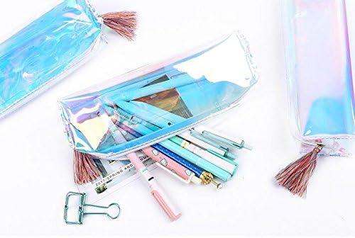 JxucTo Transparent Solide Couleur Fermeture Éclair Cosmétique Trousse Scolaire (Coloré) | Distinctif