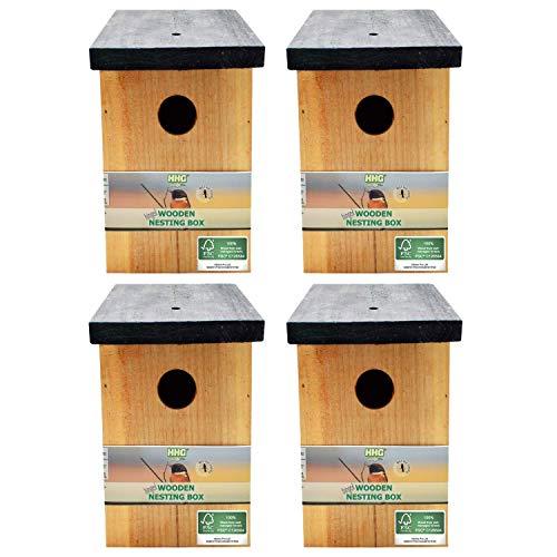 4 x Handy Home and Garden Druckbehandeltes Holzvogelhaus Für Wild- und Gartenvögel - Natürliche Hölzerne Vogelnistkästen - Hergestellt aus 100% FSC-Holz, Umweltfreundlich aus Nachhaltigen Wäldern