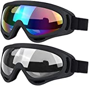 Ski Goggles, 2 Pack Snowboard Goggles Skate Glasses, Motorcycle Cycling Goggles for Kids, Boys & Girls, Yo