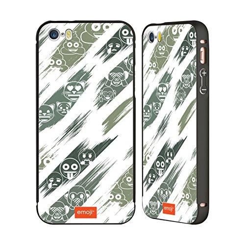 Ufficiale Emoji Vetro Macchiato Modelli 2 Nero Cover Contorno con Bumper in Alluminio per Apple iPhone 6 Plus / 6s Plus Dipinto
