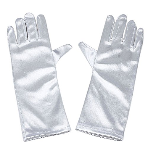 RUNHENG Handgelenk-Länge Fingerspitzen Handschuh Satin Blumenmädchen, One size, (Kostüm Cinderella Damen)