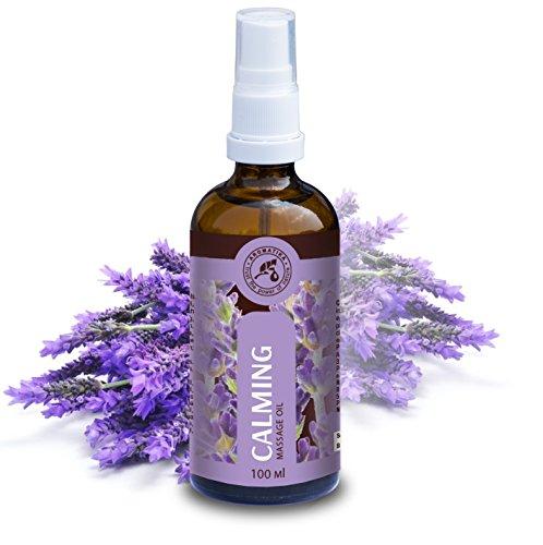 Massageöl Entspannung mit 100 % natürlichem Lavendelöl, 100 ml, Glasflasche, Massage Öl Beruhigende mit herrlichem Duft, Naturkosmetik, Massageöle für Stressabbau, guten Schlaf, Entspannung, Beauty, Wellness, Schönheit, Pflegeöl, Hautöl, Aromatherapie von AROMATIKA