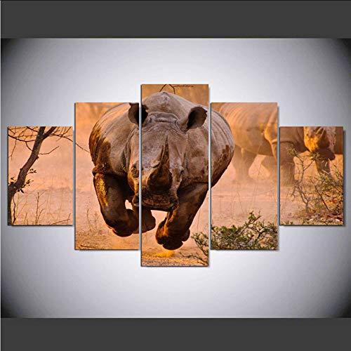hhlwl HD Gedruckt Bilder Poster Für Wohnzimmer 5 Panel Rhinoceros Kopf Tier Wand Kunst Wohnkultur Rahmen Moderne Leinwand Malerei-10x15/20/25cm-frame