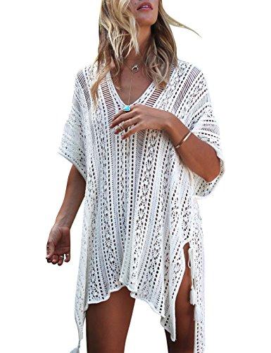 Walant Damen Sommer Gestrickt Strand Bademode Bikini Cover Up Crochet Kurze Kleider Tops Bluse Sweatshirt mit Quasten (Einheit, X-Beige)