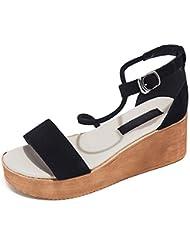 Mot cingulaire sandales à bout ouvert sandales plate-forme de muffins femme